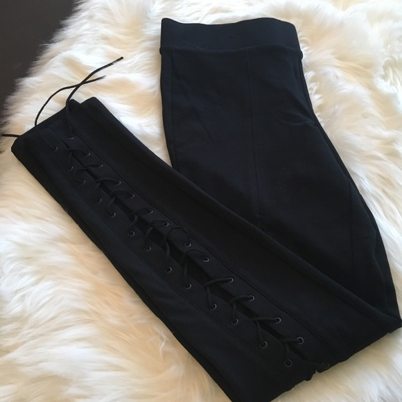 Boom Boom Jeans Pants - BOOMBOOM Lace-up, Black, sexy, night out leggings